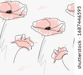 poppies continuous line drawing....   Shutterstock .eps vector #1687446595