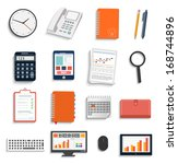 set of office and business work ... | Shutterstock . vector #168744896