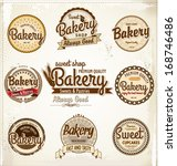 retro bakery badges and labels | Shutterstock .eps vector #168746486