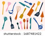 colorful sets of silhouette...   Shutterstock .eps vector #1687481422
