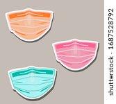 medical mask  sticker. pandemic ... | Shutterstock .eps vector #1687528792