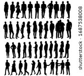 vector silhouette people set | Shutterstock .eps vector #1687538008