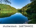 Lago di Levico, small beautiful lake in Italian Alps, Valsugana valley, Levico Terme town, Trento province, Trentino Alto Adige, Italy, Europe