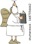 Illustration of a male angel singing from a hymnal while wearing a face mask.
