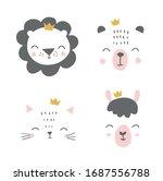 cute simple animal portraits... | Shutterstock .eps vector #1687556788