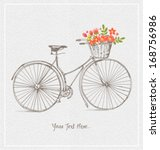 vintage bicycles with basket... | Shutterstock .eps vector #168756986