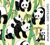 beautiful panda bamboo pattern  ... | Shutterstock .eps vector #1687621492