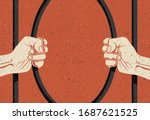two arms are breaking prisons... | Shutterstock .eps vector #1687621525