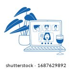 video call to friends in the... | Shutterstock .eps vector #1687629892