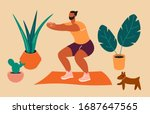 home exercise. young man doing... | Shutterstock .eps vector #1687647565