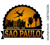 welcome to sao paulo travel... | Shutterstock .eps vector #168766106