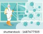 virus disinfection concept. man ... | Shutterstock .eps vector #1687677505