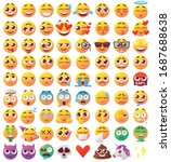 set of funny faces with big...   Shutterstock .eps vector #1687688638