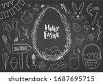 Easter Doodles On Chalkboard....