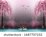 3d wallpaper swan pink tree...