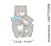 draw vector mom bear and baby... | Shutterstock .eps vector #1687751008