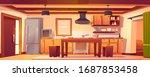 kitchen interior in rustic... | Shutterstock .eps vector #1687853458