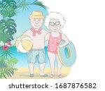 elderly couple of tourists on... | Shutterstock .eps vector #1687876582