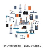 oil industry poster with... | Shutterstock .eps vector #1687893862