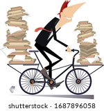 young man carries papers or... | Shutterstock .eps vector #1687896058