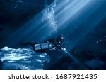 Cave Diving  Diver Underwater ...