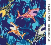 Seamless Pattern Of A Shark And ...