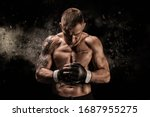 Small photo of Mixed martial artist posing on a black background. Concept of mma, ufc, thai boxing, classic boxing. Mixed media