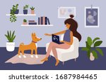 stay and work from home. cute... | Shutterstock .eps vector #1687984465