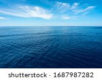 Nobody In Blue Sea With Horizon ...