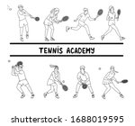 tennis players in motion.... | Shutterstock .eps vector #1688019595