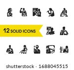 person icons set with cook ...