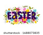 happy easter colorful lettering.... | Shutterstock .eps vector #1688073835