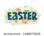 happy easter colorful lettering.... | Shutterstock .eps vector #1688073838