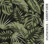 tropical leaves pattern on... | Shutterstock .eps vector #1688091808