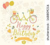happy birthday card in bright... | Shutterstock .eps vector #168809216