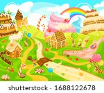 children in candy land  kids in ... | Shutterstock .eps vector #1688122678