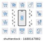 shopping cart vector line icons ... | Shutterstock .eps vector #1688167882