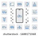 set of public transport related ... | Shutterstock .eps vector #1688171068