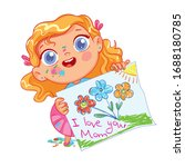 girl drew a picture for mom.... | Shutterstock .eps vector #1688180785