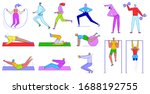people do sport exercises ... | Shutterstock .eps vector #1688192755