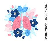 vector healthy lungs on flowers.... | Shutterstock .eps vector #1688199502