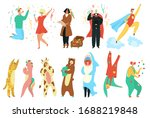 party costumes people set ... | Shutterstock .eps vector #1688219848
