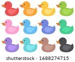 cute rubber duckies flat vector ... | Shutterstock .eps vector #1688274715