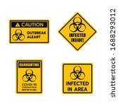 yellow caution sign of covid 19 ... | Shutterstock .eps vector #1688293012
