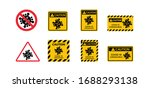yellow caution sign of covid 19 ... | Shutterstock .eps vector #1688293138