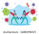 doctors couple fighting virus... | Shutterstock .eps vector #1688298415