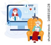 telemedicine doctor with old...   Shutterstock .eps vector #1688318128