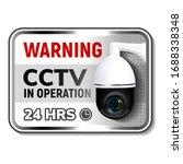 cctv in operation warning... | Shutterstock .eps vector #1688338348