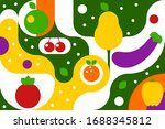 fruits and vegetables on... | Shutterstock .eps vector #1688345812