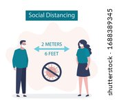 social distancing  two people... | Shutterstock .eps vector #1688389345